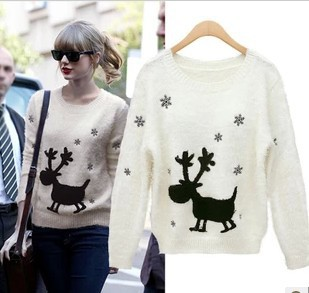 Desigual christmas reindeer pattern sweater dress women moose crochet blouse winter knit pullover jersey mohair jumper sudaderas(China (Mainland))