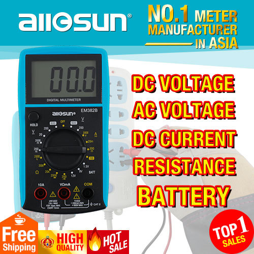 all-sun EM382B LCD display digital multimeter Voltage DC/AC multimeter Continuity Current DC resistance battery Diode tester(China (Mainland))