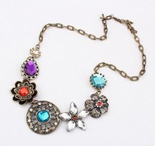 Bohemia Style Gem choker necklace Collar necklace Jewelry for women Metal Chain choker necklace jewelry 2014