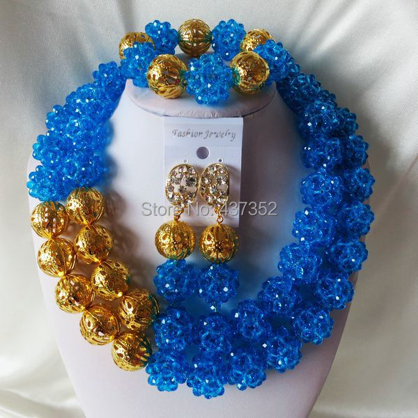 Turquoise Blue more color can pick Crystal Necklaces Bracelet Earrings Nigerian African Wedding Beads Jewelry Set  CPS-2304<br>