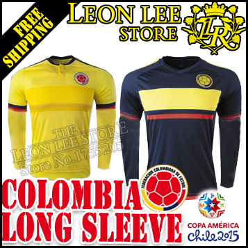 2015 Chile copa America Colombia Long sleeve Soccer Jersey 1516 Home away football kit JAMES VALDERRAMA CUADRADO FALCAO AGUILAR(China (Mainland))