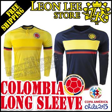 2015 Chile copa America Colombia Long sleeve Soccer Jersey 1516 Home away football kit JAMES VALDERRAMA CUADRADO FALCAO AGUILAR(China (Mainland))