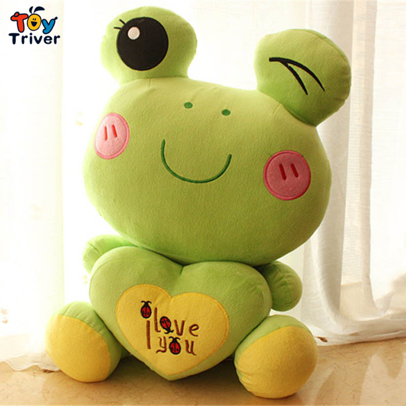2016 green frog with love heart stuffed toys plush doll birthday Day gift for baby kids children girlfriend present sad frog <br><br>Aliexpress