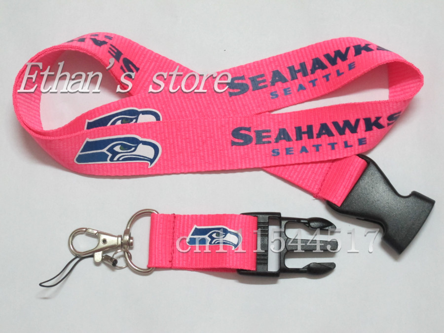 FREE SHIPPING Pink Seahawk Football Team Neck Lanyard LOTS mobile key ID Holders straps(China (Mainland))