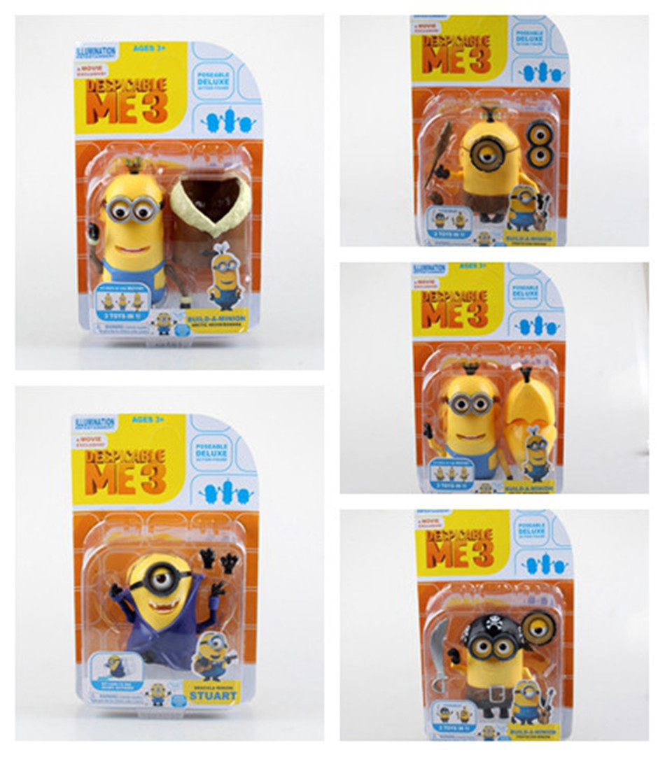 Dress POP Toy Set 5PCS/set Minions toys yellow doll 3D eyes peluche Minion despicable me 3 Kid Toys Boxed for Children Gift 0329(China (Mainland))