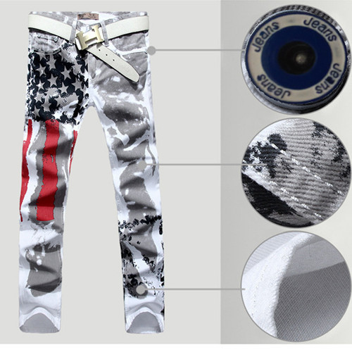 Mens american flag jeans print pattern men jeans plus size biker jeans Personality men pants each size is stock(China (Mainland))