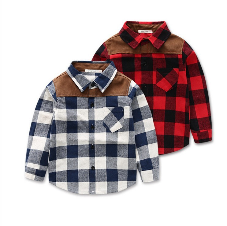 2015 fashion style new style children's shirt boy checked shirt boy shirt boy long sleeved shirt for2-9 Years Old 2 Color(China (Mainland))