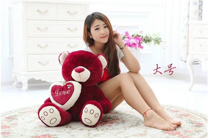 big new plush red cute teddy bear toy lovely bear doll with a heart gift about 75cm(China (Mainland))
