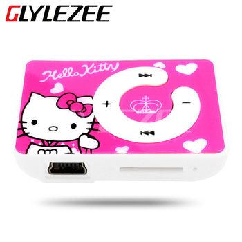 Glylezee Hello Kitty MP3 Музыкальный Плеер с 5 Цветов Пластиковые Клип Мультфильм Портативный Mp3-плеер