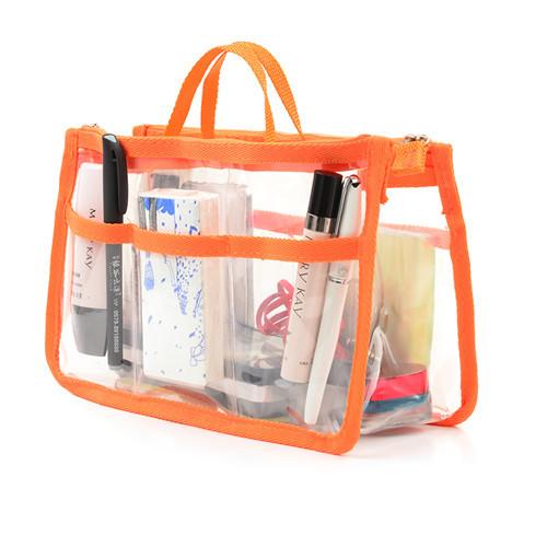 cosmetic bag purse organizer insert beach bag Double zipper portable multifunctional PVC Handbag sorting bag receive bag 2015(China (Mainland))
