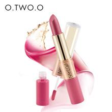 O.TWO.O 12 colors Matte liquid Lipstick Makeup Velvet Lipstick and Matte Lip gloss 2 in 1 batom liquido mate(China (Mainland))