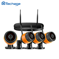 Techage 4CH 720P NVR DVR HD Wireless CCTV System 4PCS Outdoor Waterproof IR P2P WIFI IP