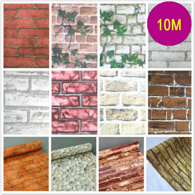 Free shipping PVC self-adhesive wallpaper pattern retro brick kitchen, living room TV backdrop 4.5m2 balcony
