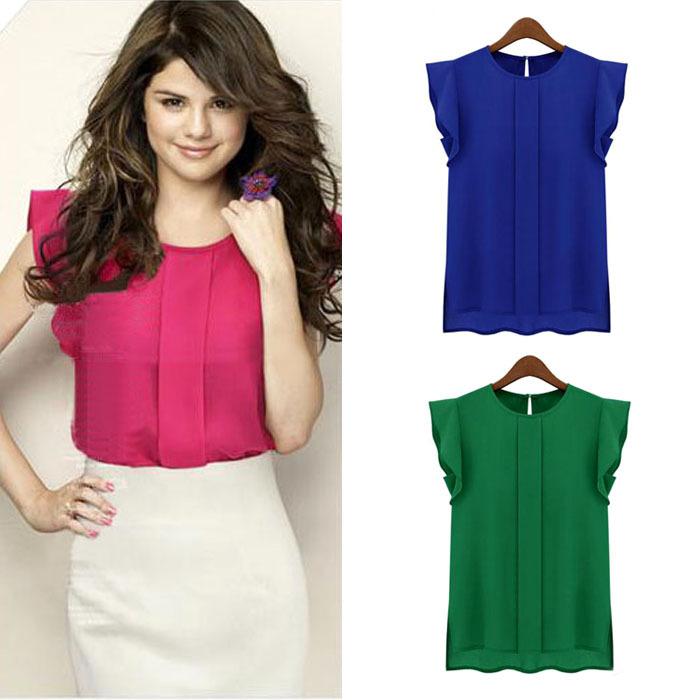 Feitong Hot Plus Size Women Summer Casual Clothing Loose Short Tulip Sleeve Chiffon Blouse Shirt Tops Free Shipping(China (Mainland))