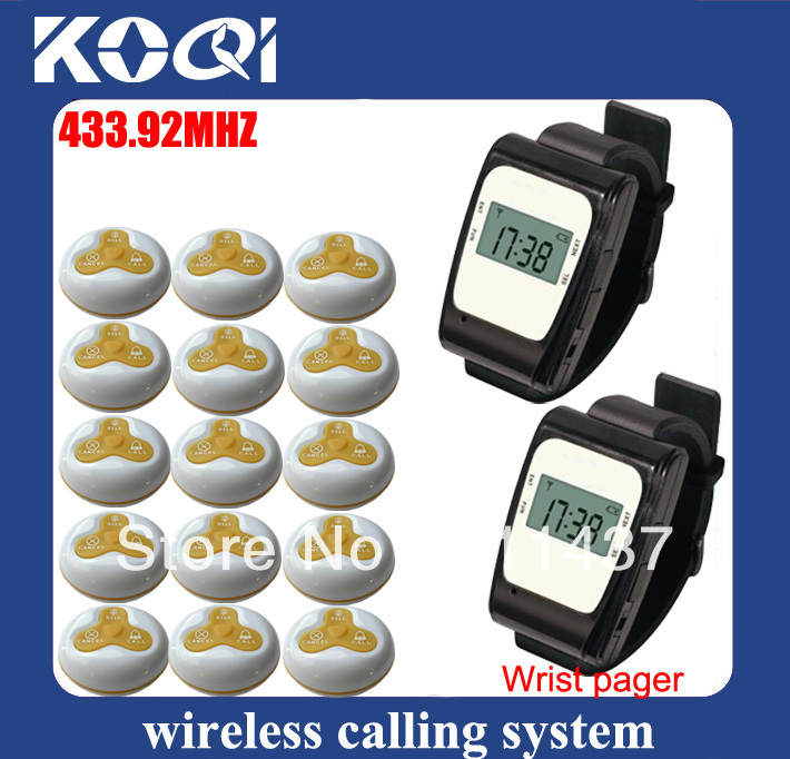 433.92mhz Customer service call system electronic pagers consist of watch receiver and waiter calling button DHL free shipping(China (Mainland))