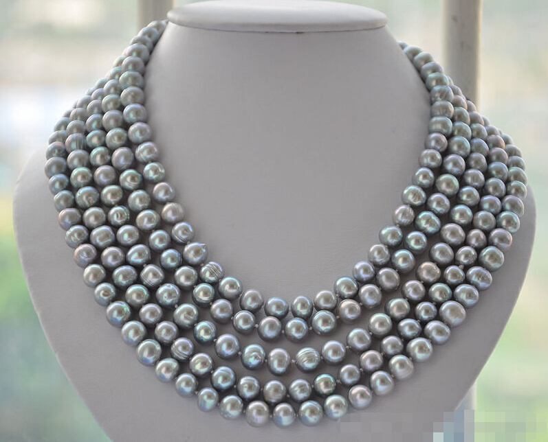 ********z5281 LONG 10mm round gray cultured Freshwater pearl necklace 100inch<br><br>Aliexpress