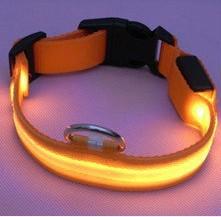 Orange lights new Nylon Flashing Dog Collar Pets Collar Flashing LED Light For Visability Flashing Light Collars Free shipping