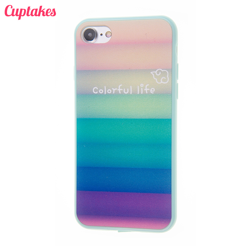 Cuptakes Cute Green Colorful Life Soft Silicone TPU Case for iPhone 7 Cover i5 i6 i7 5 SE 6S Plus Phone Cases Coque film Shield(China (Mainland))