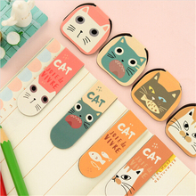 8 pcs/Lot Catoon magnetic bookmarks Cute Cat paper clip Stationery Office accessories School supplies marcador de libro(China (Mainland))
