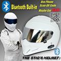TopGear The STIG White Helmet Built in Bluetooth Built in Capacete Casco De with Silver Visor