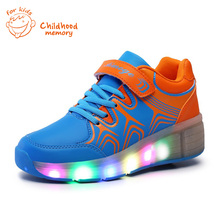 Heelys Roller Baby Shoes Baby Boys&Girls Automatic LED Lighted Flashing Roller Skates  Sneakers Single Wheel Chaussure Enfant(China (Mainland))