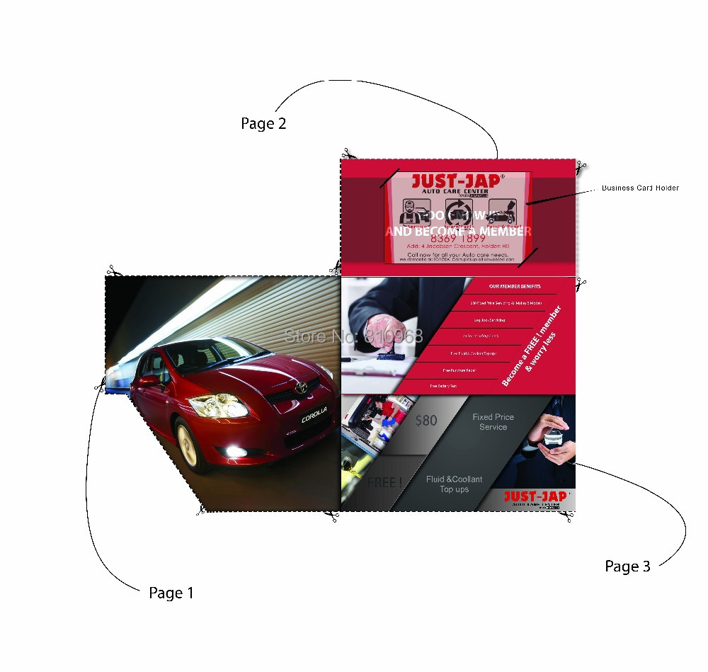 Custom Made Special Die Cut Folding Flyers Brochures with business card holder(China (Mainland))