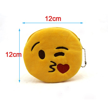 12cm*12cmCute Style Novelty Emoji Smile Zipper Plush Coin Purse Kawaii Children Bag Women Wallets Mini Change Pouch Bolsa