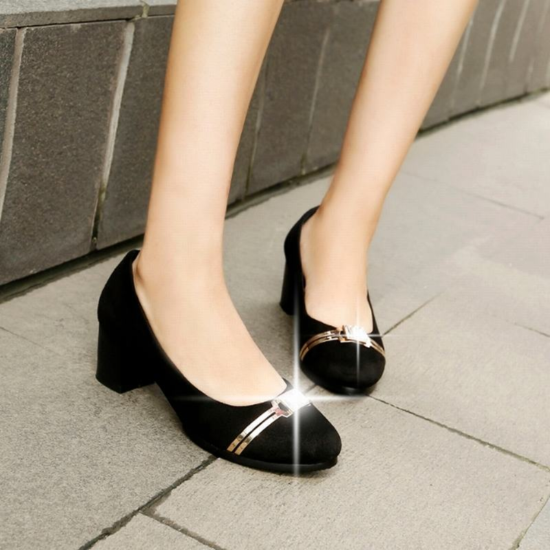 Big Size 33-43 2016 Sequined Rhinestone Flock Women Pumps Square Med Heels Women Shoes Summer Casual Shoes Woman Shallow