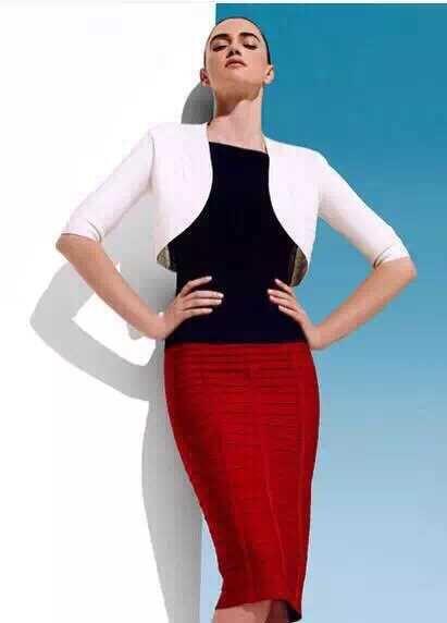 2015 top quality women rayon black yellow red orange blue baby blue bandage pencil skirts wholesale dropshipping(China (Mainland))