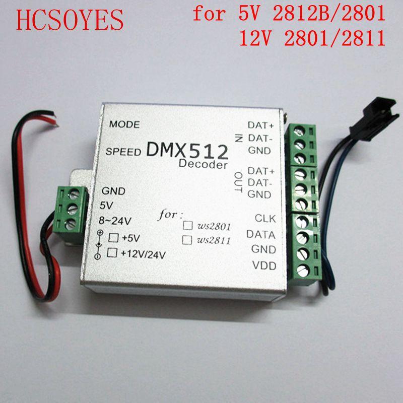 Dmx512 decoder LED SPI Converter for ws2811 ws2801 ws2812b led strip DC5V/12V DMX LED RGB Controller(China (Mainland))