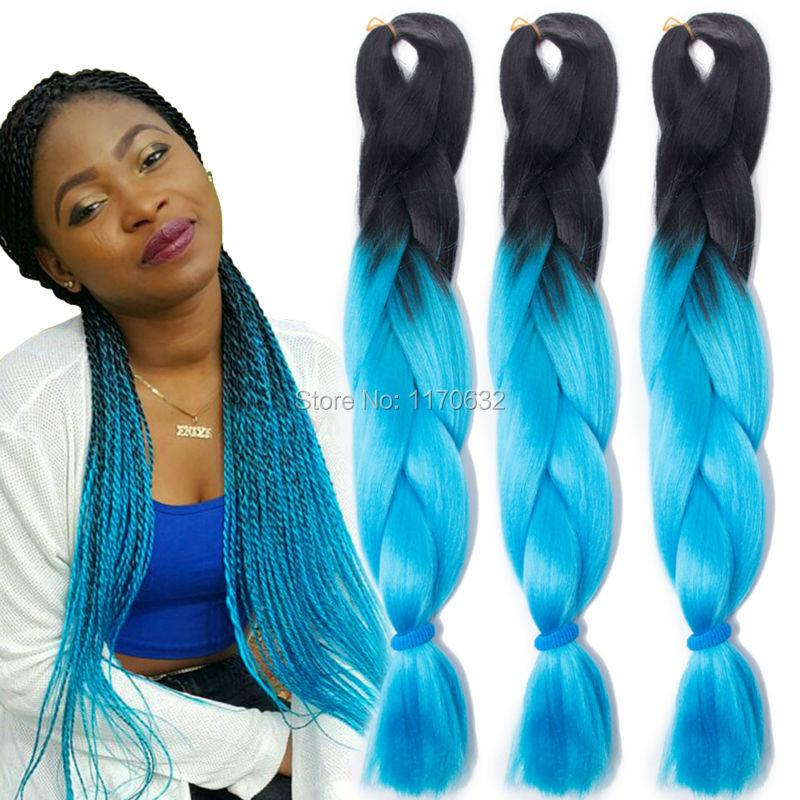 QP ombre Blue Braiding Hair 100g Box Braid Extensions Two Tone Ombre Kanekalon Jumbo Braid Synthetic Crochet Braids Hair 10pcs<br><br>Aliexpress