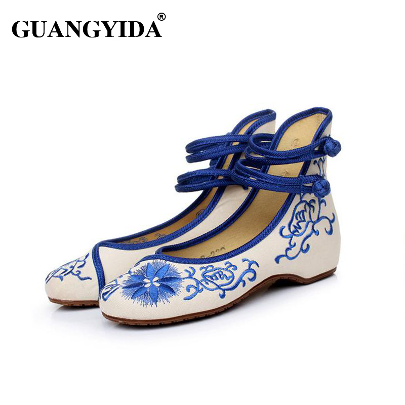 2016 Fashion Women Shoes Old Beijing Mary Jane Flats With Casual Shoes Chinese Style Embroidered