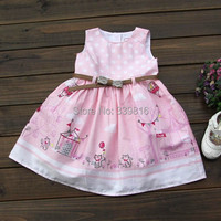12M-3T Size 2015 New Arrival Baby/Toddler Girl's Pink Cartoon Handpainted Summer Dress with Waistband for Children, Good Quality