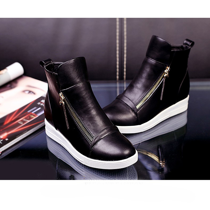 Size 42 Black Silver Red Women Ankle Boot Height Increasing Winter Shoes For Woman Top Leather Fur Shoe Causal Boots Botas Mujer<br><br>Aliexpress