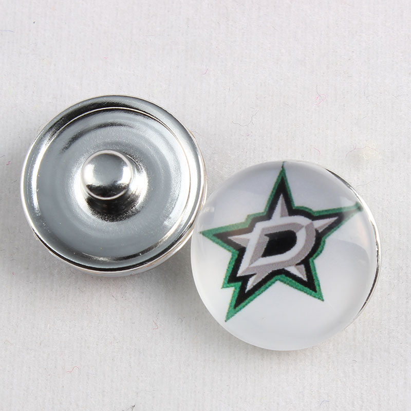 18MM Dallas Stars Snap Button Ice Hockey Sports Team Glass Buttons Snap Charms Fit Ginger Snaps Earrings 20Pcs/lot(China (Mainland))