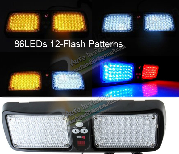 Free Shipping 86 LED Super Bright Car Truck Visor Strobe Flash Light 2x43 LED 6 Optional Colors(China (Mainland))