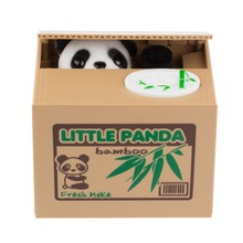 2016 New Cute Panda Automatic Stole Coin Piggy Bank 11.5x9.5x9cm Size Money Saving Box Moneybox Gifts for Kids free shipping(China (Mainland))