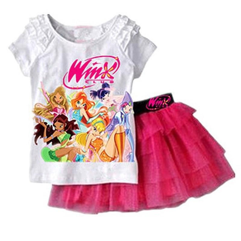 New 2016 Girl Clothing Set Summer Fashion Children Girls Summer Casual Suit T-shirt Short Skirt Winx Club Cartoon Kids Set(China (Mainland))