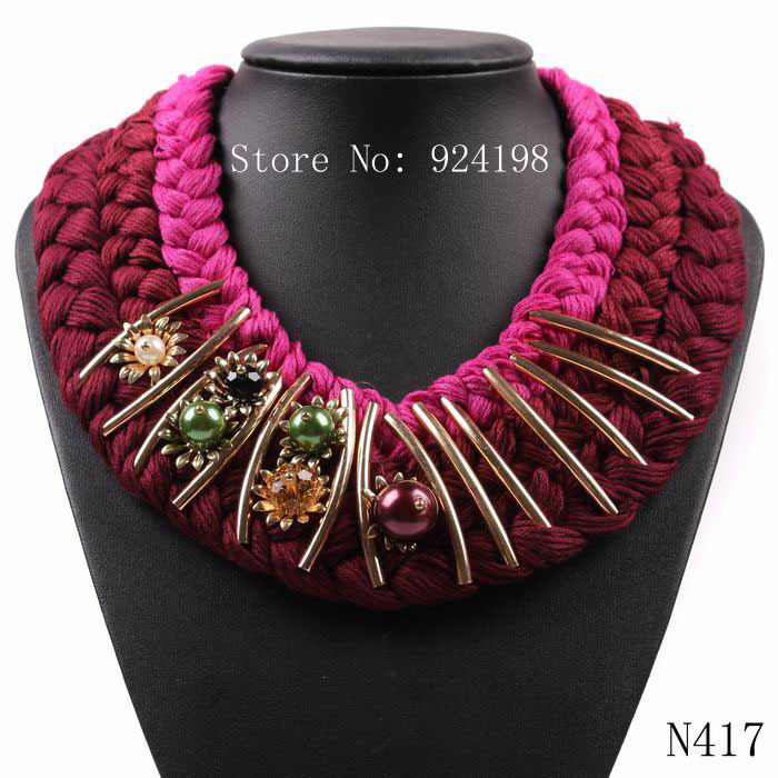 2015 new latest model fashion big red chunky string flower bead choker necklace collar for women autumn elegant jewelry(China (Mainland))