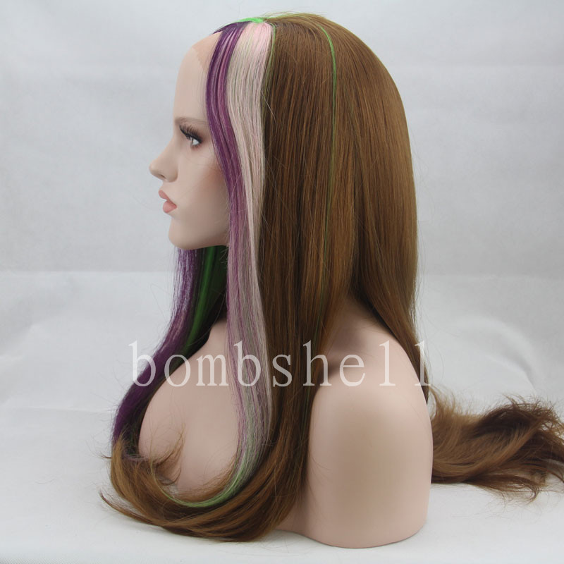 Brown Pink Purple And Green Fashionable Style 26 Inch inch Length Straight Texture Blonde Mixed Color Synthetic Lace Front Wig(China (Mainland))