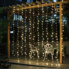 4.5M x 3M 300 leds US110v EU220v Christmas Garlands LED String Lights Fairy Xmas Party Garden Wedding Decoration Curtain Lights(China (Mainland))