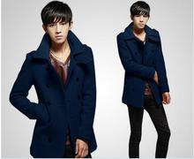 Men's Clothing Coats Jackets Wool  Blends Men's Fashion Plaid cashmere wool coat lapel men's woolen coat jacket #72019(China (Mainland))