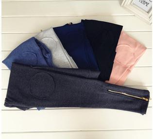 Korea Style Nine leggings Zipper Design Leggings Mujer Warm Winter Leggins(China (Mainland))