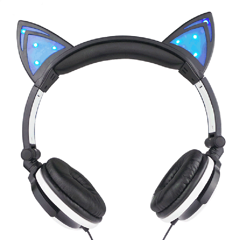 2016 Fashion Foldable Flashing Glowing Cat Ear Headphones Gaming Headset Earphone With LED Light For PC Laptop Mobile Phone MP3(China (Mainland))