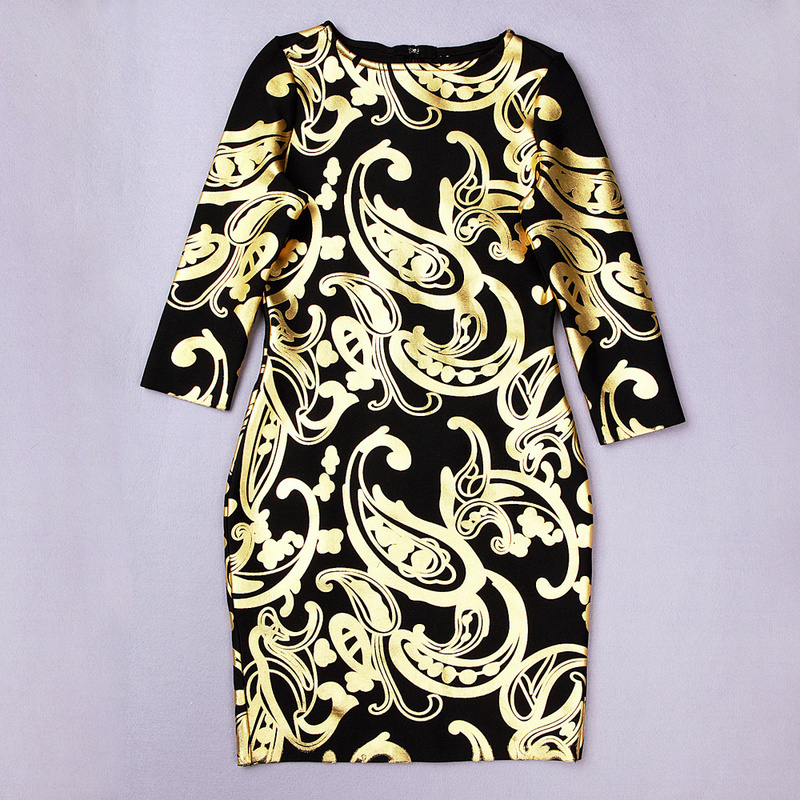 High Quality  ladies' totem print long sleeve beans sexy gold and black HL bandage dresses women elegant elastic party bodycon