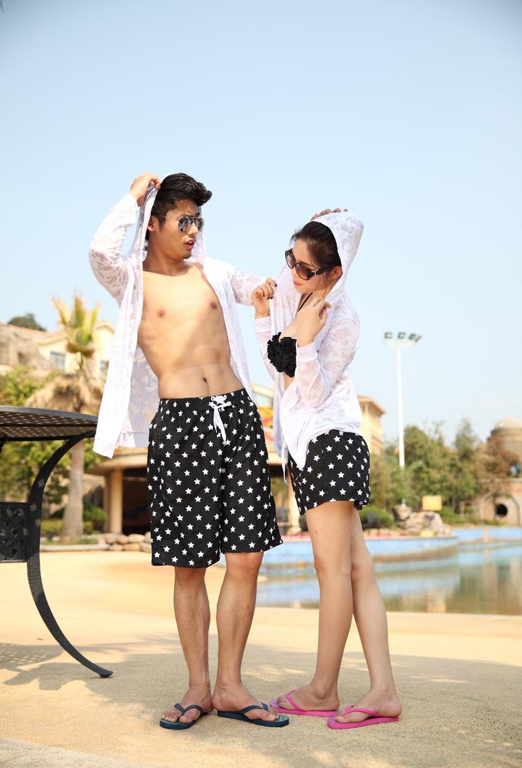 couples swimwear 2015 new fashion summer board shorts black and white Dot Beach Shorts Jeanette Quick drying Fabric(China (Mainland))