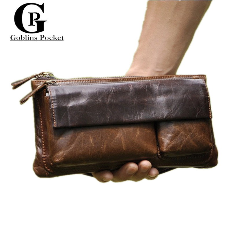 [Goblins Pocket] Belt Bags Compact Soft Leather Pouch Brown Men's Business Clutch Wallets Multi-Function Casual Wrist Handbag(China (Mainland))