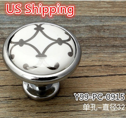 US Shipping 25pcs Ceramic Zinc Alloy modern simple classic knob Silver Flower Printed Kitchen Cabinet Furniture Handle knob(China (Mainland))