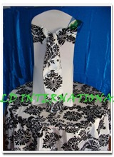 WHITE & BLACK Flocking Chair Sash for Wedding Chair Cover