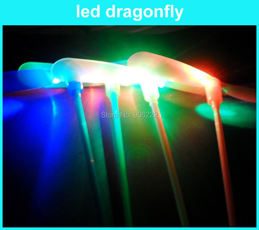(100 pieces/lot) Firefly Rocket Copters Toys Light Up The Sky Flying Dragonfly Luminous parachute Lighten Led Toy Gift(China (Mainland))